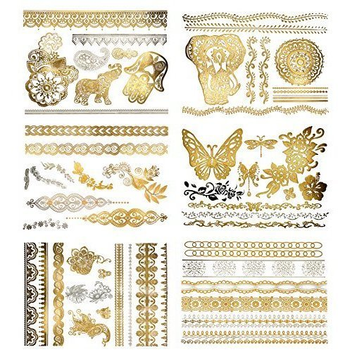 Henna Inspired Temporary Metallic Tattoos - Over 75 Designs (6 Sheets) Gold and Silver Terra Tattoos Dawn Collection