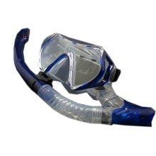 Scuba Diving Mask & Dry Snorkel Set Snorkeling Equipment for Adult, Royal Blue