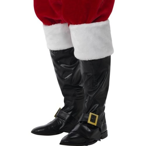Smiffy's 21419 Unisex Santa Boot Cover (one Size) - Covers Fancy Dress Deluxe -  santa boot covers fancy dress deluxe claus mens father smiffys