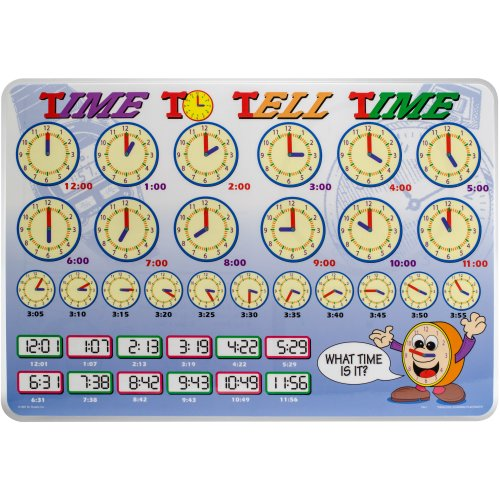 """Painless Learning Laminated Placemats 17.5""""X12.25""""-Time To Tell"""