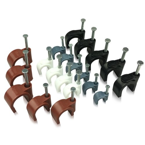 Round Cable Clips with fixing nail, 50 Pieces