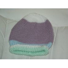 Baby Girls white purple baby blue & mint green Knitted Hat 3-6 months