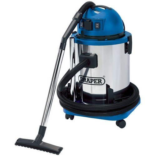 Draper 48499 50L 1400W 230V Wet and Dry Vacuum Cleaner with Stainless Steel Tank and 230V Power Tool Socket