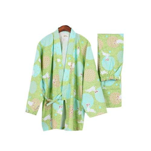 Simple Rabbit Cotton Thick Pajamas Women Pajamas Suit Fall & Winter Bathrobe