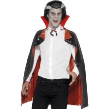 Black And Red Adult's Pvc Reversible Vampire Cape. -  pvc reversible vampire cape black red halloween fancy dress dracula accessory costume