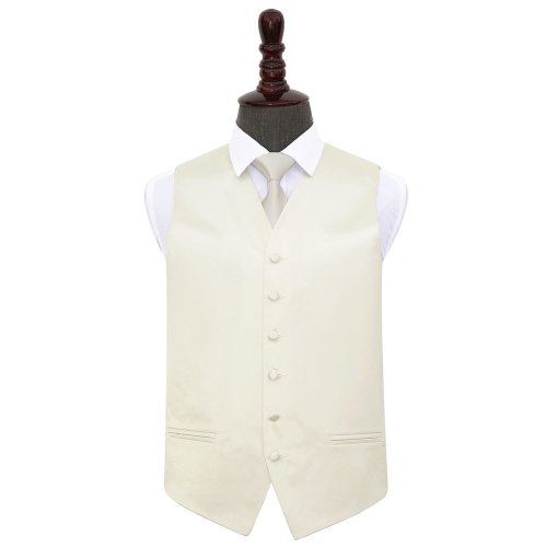 Ivory Plain Satin Wedding Waistcoat & Tie Set 42'