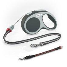 Flexi Vario Cord Dog Lead Black Small 8M & Flashing Cord Lead Small/Medium
