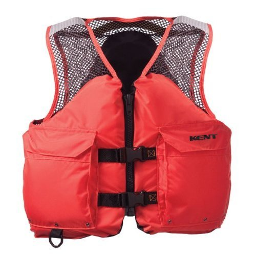 Kent Mesh Deluxe Commercial Life Vest Persons over 90 Pounds Orange Large 40 44 Inch Chest