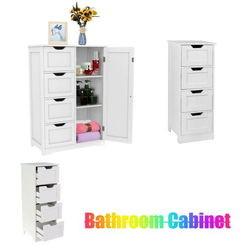 White Floor Standing Bathroom Storage Cabinet