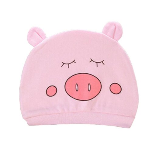 Set of 3 Cute Baby Hats Infant Caps Newborn Baby Cotton Hat Pig Pink