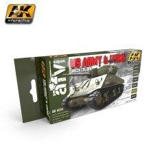 Ak04210 - Ak Interactive Set Us Army &usmc Green Colors