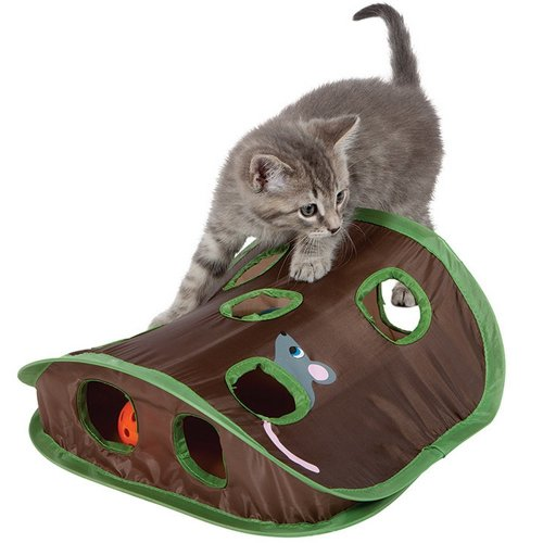 ANG Mouse Hunt Cat Toy with Bell-ball and mouse toy, play Hide & Seek Game Exercise cat with collapsible puzzle toy. (Mouse hunt)