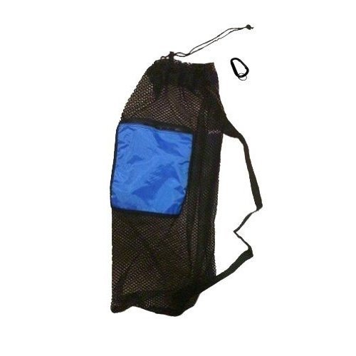 101SNORKEL Mesh Drawstring Snorkel Bag with Blue Zip Pocket