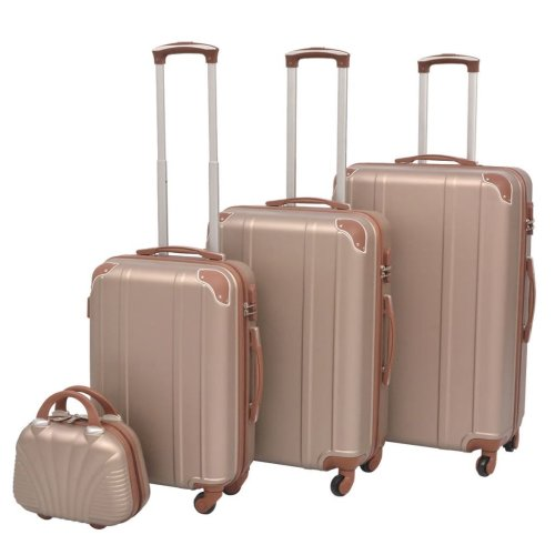 vidaXL 4 Piece Hardcase Trolley Set Champagne Travel Suitcase Luggage Bag