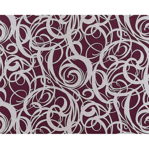 EDEM 971-35 wallpaper non-woven luxury curved lines red-violet silver 114 sq ft