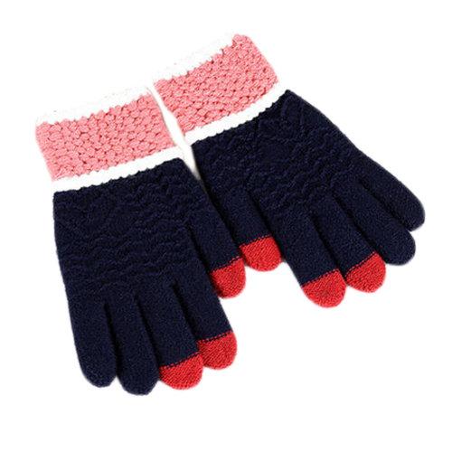 Women  Winter Gloves Touch Screen Knitting Full Finger Gloves, Navy