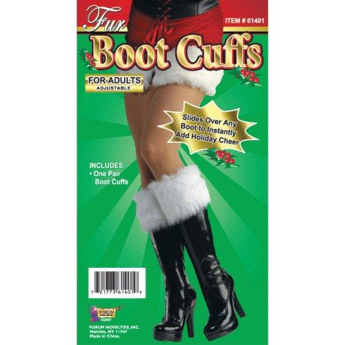 Adult's Fur Boot Cuffs - Santa Christmas Fancy Dress Accessory White Adults -  boot santa fur christmas fancy dress cuffs accessory white adults