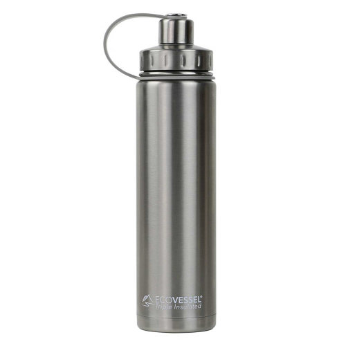 Ecovessel Boulder 700ml Hot Cold Drinks Water Bottle & Strainer  Silver Express