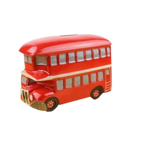 [British Style] Double-decker Bus Porcelain Money Saving Pot Coin Bank
