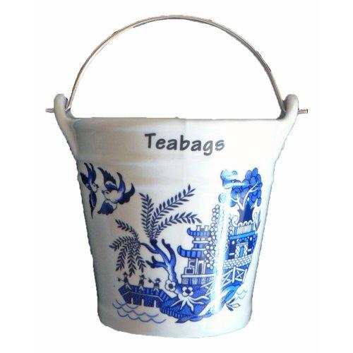 Blue Willow Pattern Bucket Teabag Tidy, Porcelain Bucket Teabag Tid