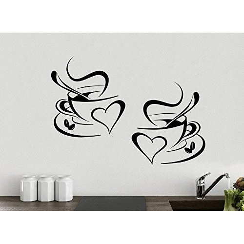 2 Cups Coffee Love Kitchen Wall Tea Sticker Vinyl Decal Art Restaurant Pub Decor