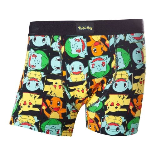Pokemon Adult Male Pikachu and Friends All-Over Pattern Boxer Short XL - Black
