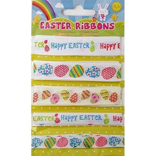 5x Assorted Decorative Easter Ribbons- 4 Meters In Total - Ribbons -  5x assorted decorative easter ribbons 4 meters total