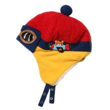 Fashion Winter Baby Kids Warm Earmuffs Hats Plush Flight Caps Pilot Style Cap Gift-Red