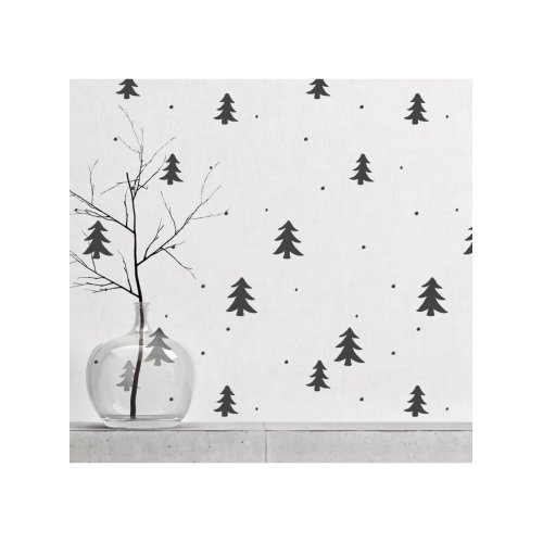 Pine Forest & Snow Wall Stencil for Painting
