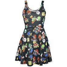 NINTENDO Super Mario Bros Female Characters and Icons Sleeveless Dress M - Black