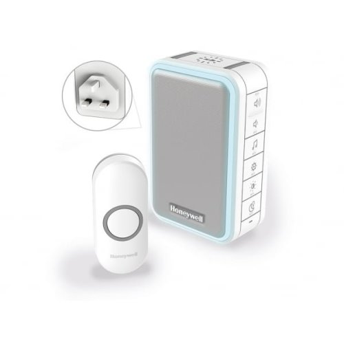 Wireless Plug-in Doorbell with Halo Light, Usb Charging and Push Button – White
