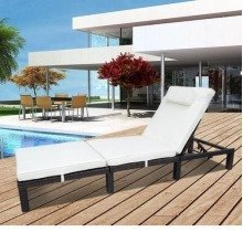 Outsunny Garden Rattan Furniture Sun Lounger Recliner-mixed Brown