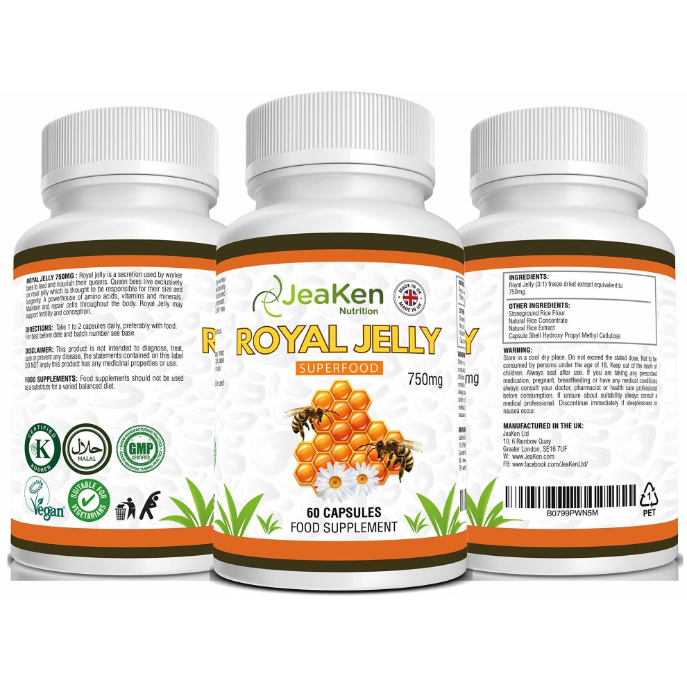 Royal Jelly by JeaKen - 60x750mg High Potency Capsules - Royal Jelly  Fertility Womens - for Healthy Hair and Skin - Helps Ease Hay Fever,
