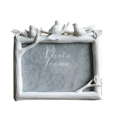 6-inch Photo Frame Bird Resin Creative Photoframe and Home Decoration, White