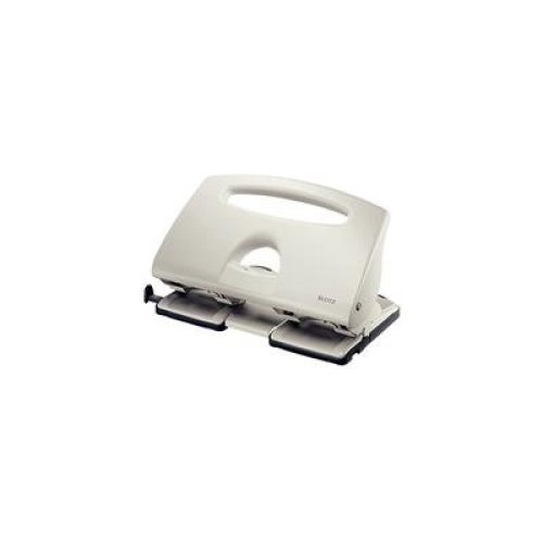 Leitz 4 Hole Punch, 40 Sheets, Guide Bar with Format Markings, Metal, 51320085 - Grey