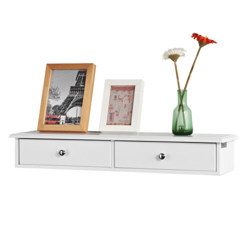 SoBuy® FRG43-W, Floating Shelf Wall Drawers Wall Shelf with 2 Drawers