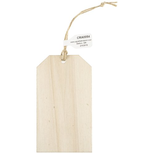 "Craft Decor Wood Shape W/Twine 24/Pkg-Gift Tag 2""X3.5""X.125"""