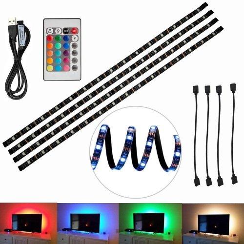 4pcs LED Strip Light,LED TV Background Lighting Kit, Multi-colour RGB 50cm