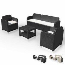 Garden Lounge Set 2 Chairs 1 Sofa 1 Table in Polyrattan 5 Seats POSITANO