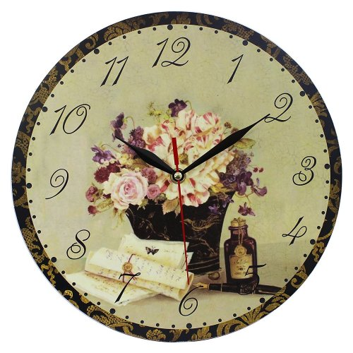 Obique Home Decoration MDF Flowers & Letters Scene 28cm  Wall Clock
