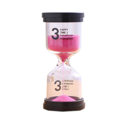 Colorful Sand Timer Hourglass Sandglass Small Ornaments Dropping Ueasily, 3 minutes + Pink