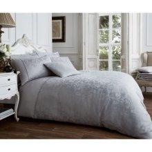 Vincenza grey jacquard cotton blend duvet cover