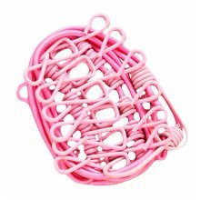 Portable Clothingpin 12 Metal Clips Foldable Stretchable Clothesline-Pink