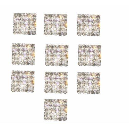 10 x Square Diamante Embellishments Flat Back Crystals Sparkly Grade A Rhinestones