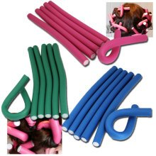 10pc Bendy Flexible Foam Hair Rollers Curlers Waves Soft Tool Salon Hairdressing