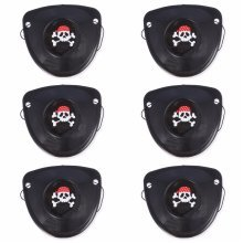 6x PIRATE EYE PATCH Skull Crossbones Fancy Dress Eyepatch Party Bag Costume Kids