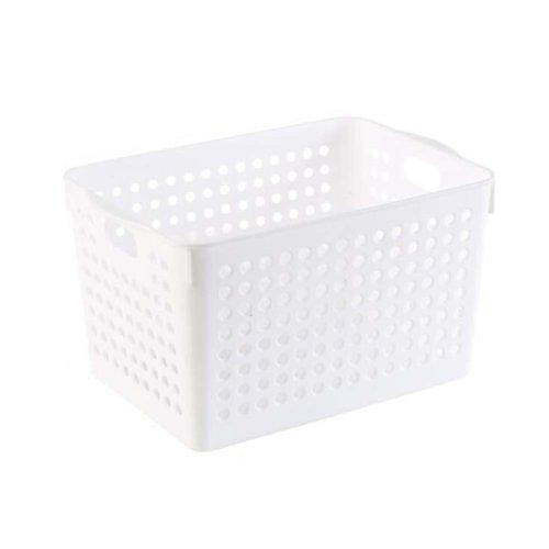 Plastic Storage Organizing Basket Closet Shelves Organizer Bins Set of 2 ?White?