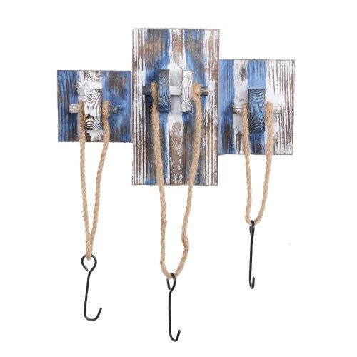 Rustic Blue & White Wooden Nautical Triple Rope Coat Hook