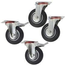 "5"" (125mm) Rubber Swivel and Swivel With Brake Castor Wheel (4Pack) CST07_08"