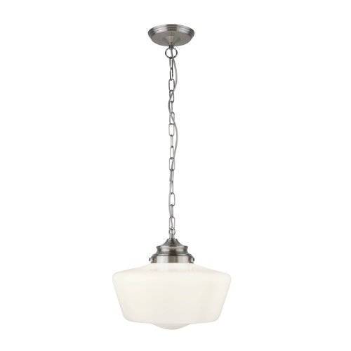 Searchlight School House White Pendant With Opal Glass